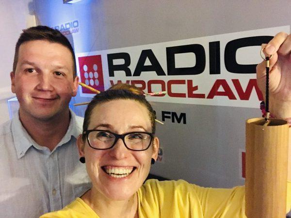 Katarzyna Gubała i Marcin Raczek, szef kuchni w Hotelu Dębowy promują Bioweekend w Radiu Wrocław