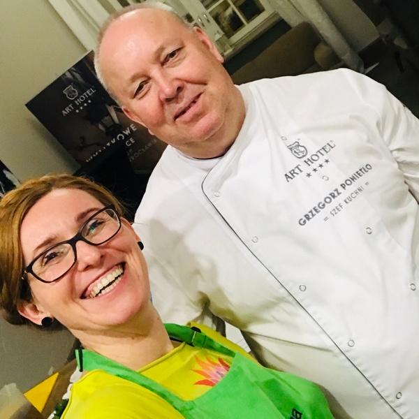 Katarzyna Gubała i Grzegorz Pomietło podczas warsztatów kulinarnych