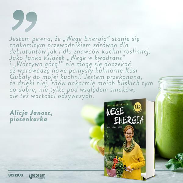 Alicja Janosz piosenkarka poleca książkę wegańską Wege energia